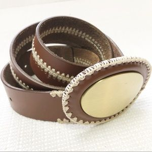 Accessories - Brown Leather Belt with Embroidery accents L